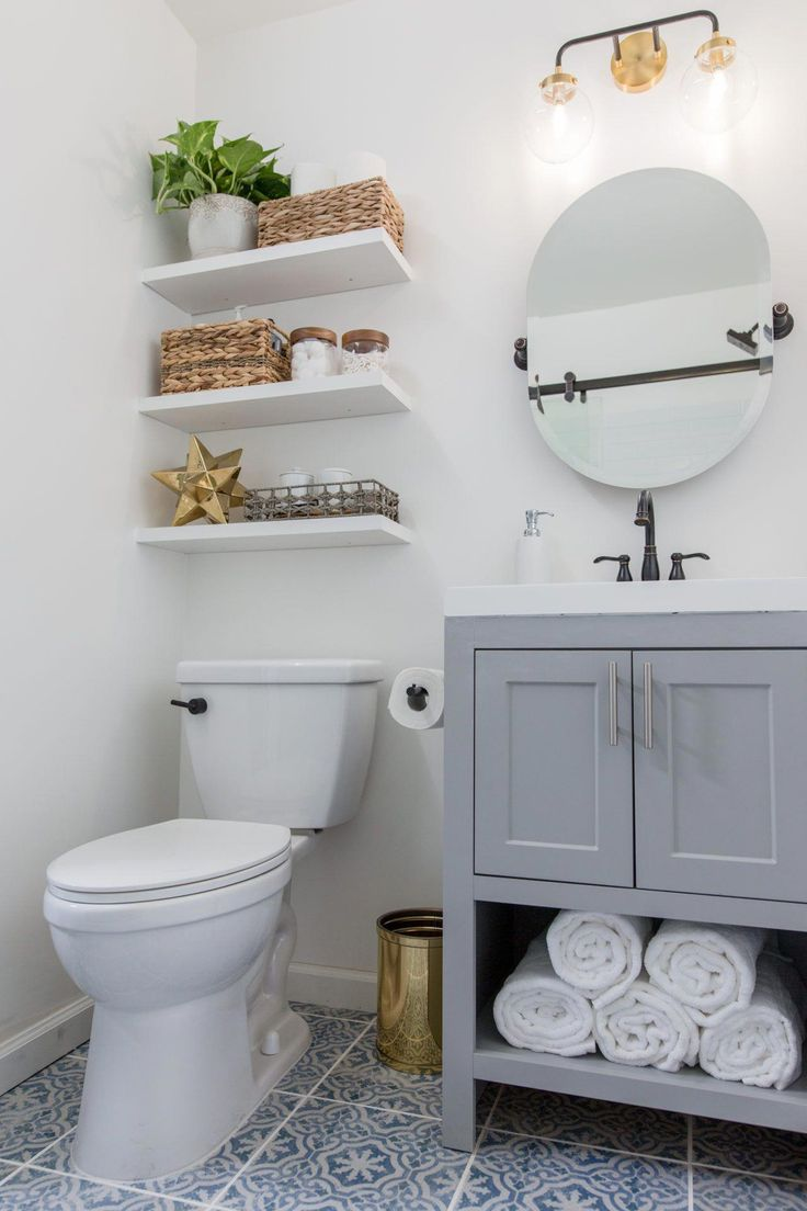 Most bathrooms are short on storage, so installing floating shelves above the to…   – bathroom makeover