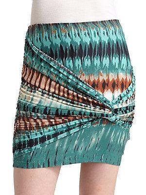 Torn Twist Mini Skirt Teal