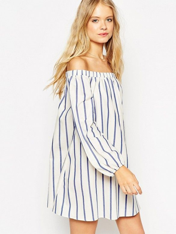 Swing Dress With Off Shoulder Detail in Wide Stripes by ASOS