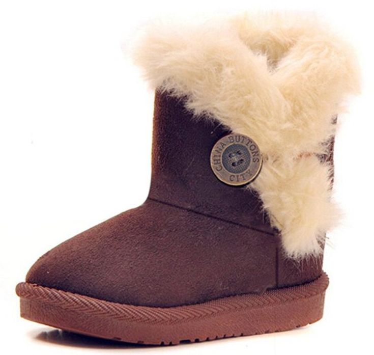 Bumud Girl's Boy's Faux Fur Bailey Button Snow Boots Winter Warm Shoes(Toddler/Little Kid) (9 M US Toddler, Coffee). Synthetic. Skid-resistance rubber sole. Fur Lined, keep baby's feet warm in cold winter. Easy on and off , supper comfortable and convenient !. Pls check the size information carefully, big feet pls choose one size large.