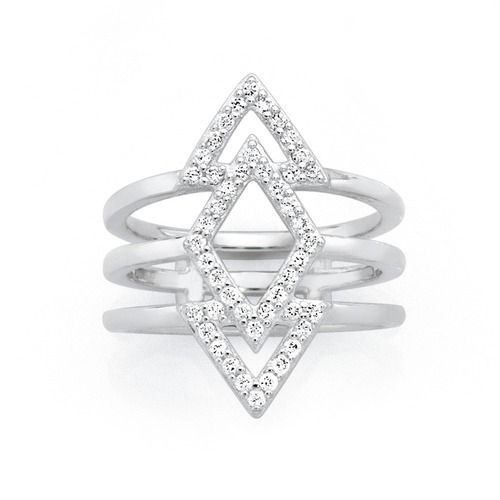 Silver Cubic Zirconia Geo Ring   Goldmark Australia