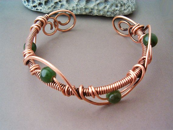 Bracelet Wire Wrapped Copper - Jewelry Handmade Bracelet Hammered Copper Wire…