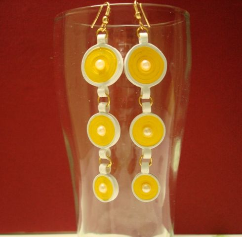 Yellow hangings with beads