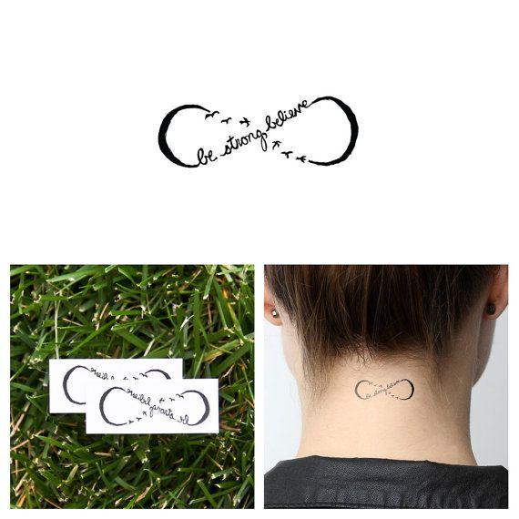 Infinity Believe Symbol  - Temporary Tattoo (Set of 2)