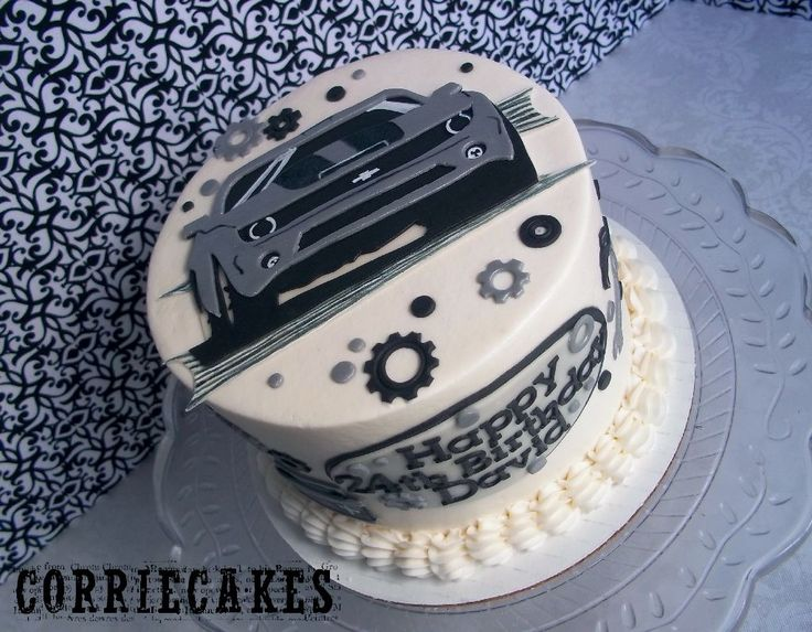 Camaro birthday cake - cake for a guy who is really into cars, especially his camaro! iced in BC with MMF decorations