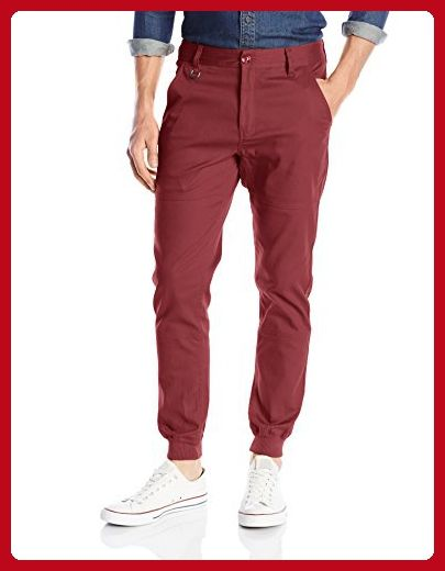 PUBLISH BRAND INC. Men's Legacy Stretch Twill Jogger Pant with Water Resistant Coat, Maroon, 28 - Mens world (*Amazon Partner-Link)