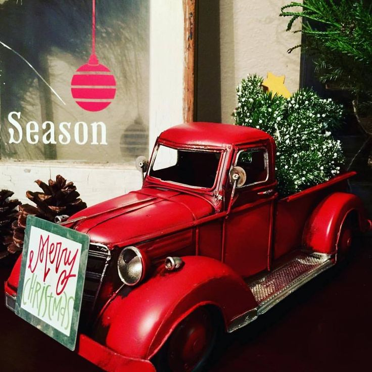 This red truck came from Hobby Lobby as did the magnet on the front! Little red truck, Christmas tree, Merry Christmas. Home for the Holidays. This girl loves Christmas
