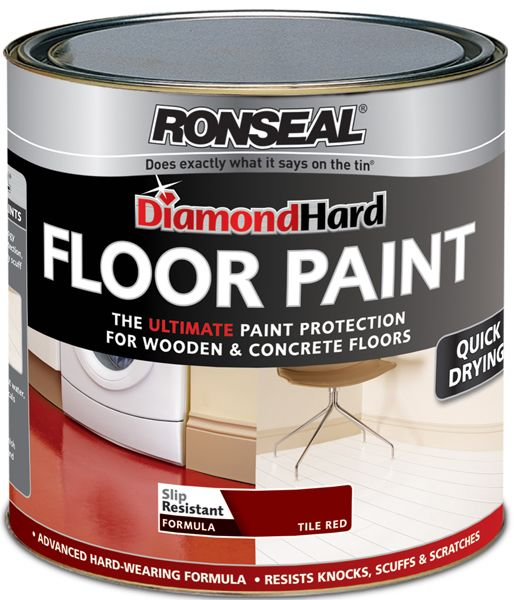 Ronseal Diamond Hard Floor Paint 2.5L: Preparation: Bare Wood: Sand with P120 grit medium grade sandpaper and use White Spirits and a cloth to remove any dust or dirt. Seal any knots with a Knotting or a Shellac Sanding Sealer, and fill and sand any nail holes with Ronseal Multi-purpose Woodfiller. Previously Painted Surfaces: First thoroughly brush to remove and loose or flaking paint, followed by a thorough sand with a medium grade abrasive, and wipe and clean with White Spirits to remove…