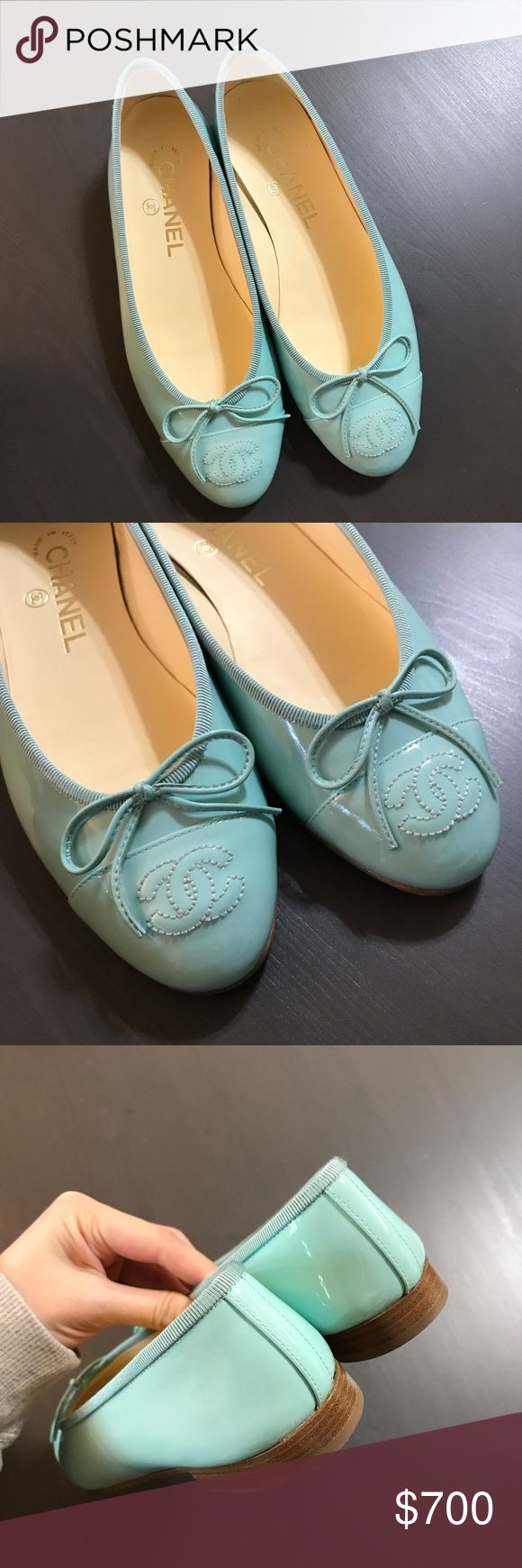 Chanel Classic Ballerina Flats in size 35.5 Almost brand new condition😍 100% Authentic. Comes with shoes box and dust bag. No receipt it is a gift. No lowball please. Super cute color  like Tiffany Blue or 🍏 and you can not find this color at anywhere anymore. Listing price is the lowest price I can go for this pair cause Poshmark takes 20% out of it... Happy shopping!!! CHANEL Shoes Flats & Loafers