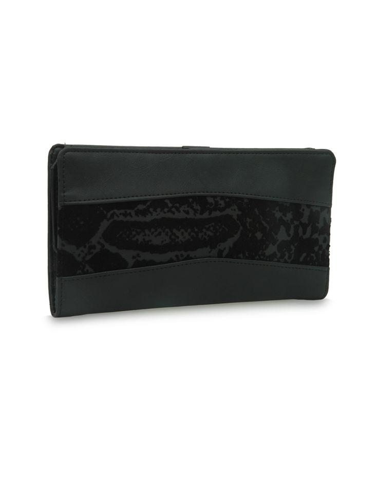 W Brio Bindas Black: A black Baggit wallet accentuated by a floral strip.