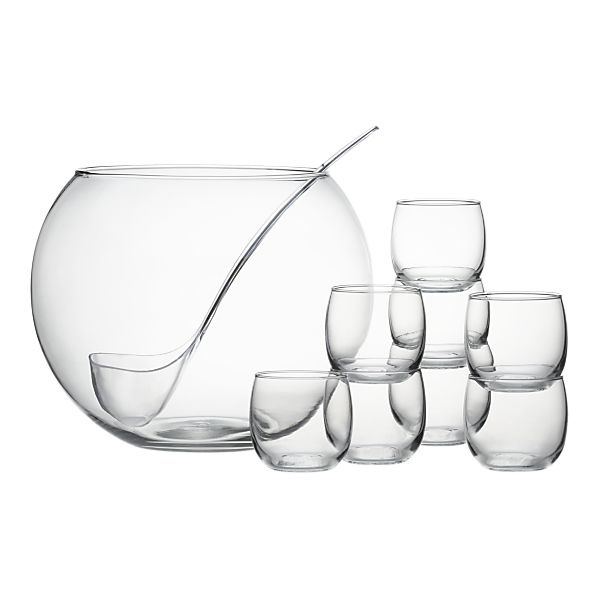 LOVE this punch bowl from Crate & Barrel. Can also get extra glasses. Could float flowers or candles in the bowl for a centerpiece.