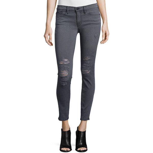 FRAME DENIM Le Skinny De Jeanne Jeans (790 BRL) ❤ liked on Polyvore featuring jeans, greys inn rip, gray skinny jeans, distressed jeans, low rise skinny jeans, skinny jeans and super skinny ripped jeans