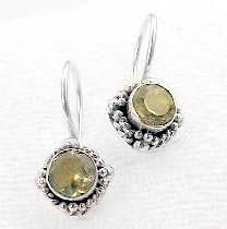 New Small Round Sterling Silver YELLOW Citrine Earrings