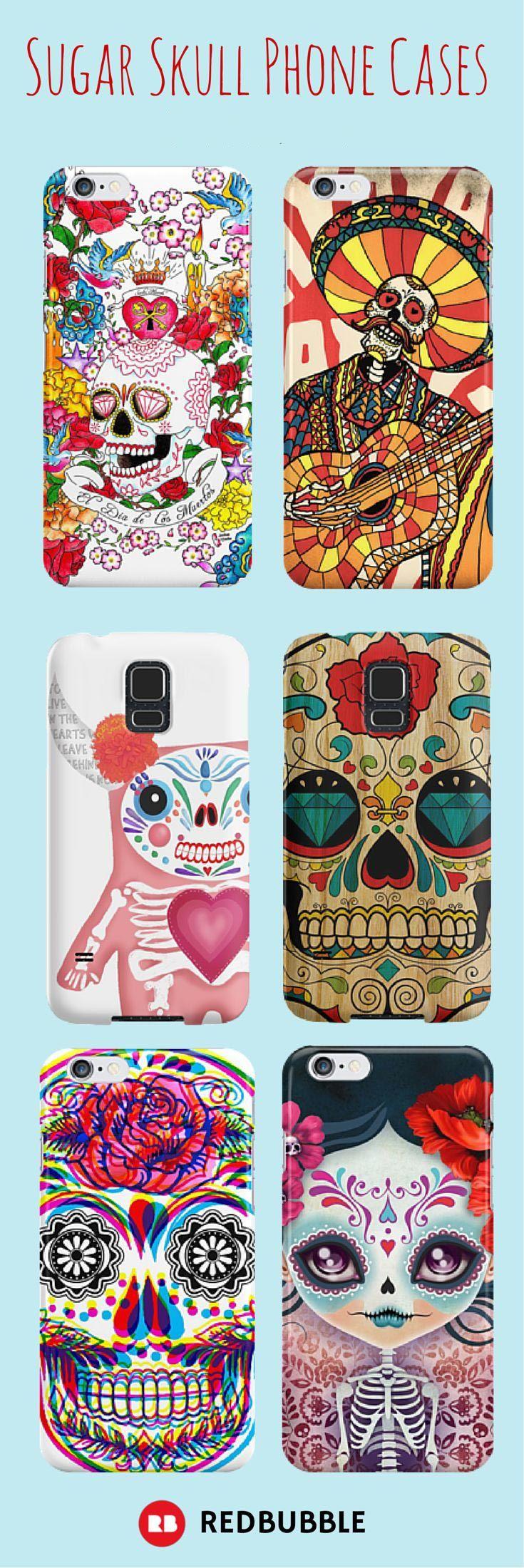 Celebrate Dia De Los Muertos every day with these sugar skull phone cases. #diadelosmuertos