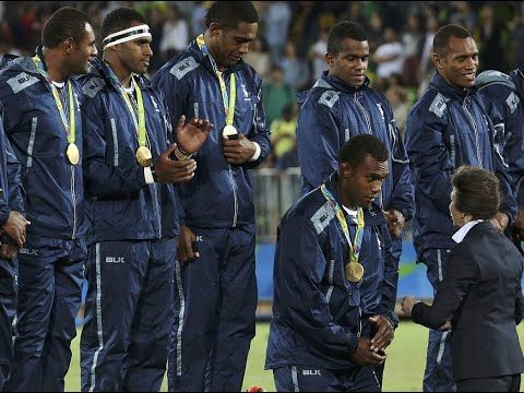Fijian Rugby Players KNEEL For Princess Anne As She Awards Gold Medal At...