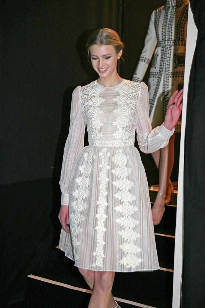 Seventies inspired hair at valentino beautiful snow for Valentino short wedding dress