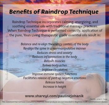 Benefits of Raindrop Technique. for more info visit: www.shareyl.com/paulinejohanik