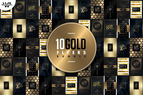 10 GOLD MINIMAL Flyer Bundle by WG-VISUALARTS on @creativemarket