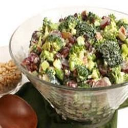 Bacon Broccoli Salad with Raisins and Sunflower Seeds Allrecipes.com?  Use Marzetti coleslaw dressing if available instead of making your own dressing.  Also use red onion for a splash of color.  Also prefer Craisins to the raisin.  Great summer salad.