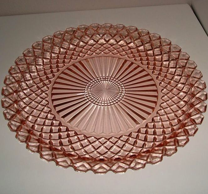 Waterford pink platter: Pink depression glass platter in a waffle pattern.