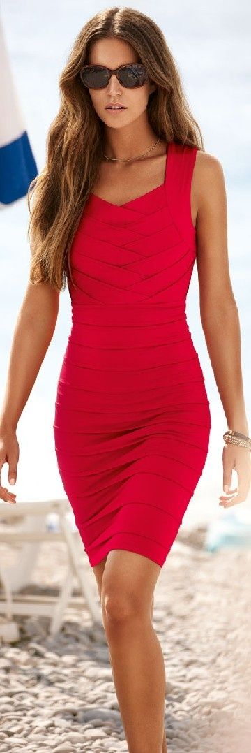 short red dress... add a couple inches and a cardigan and it would be my favorite outfit... provided it looked good on me, of course!