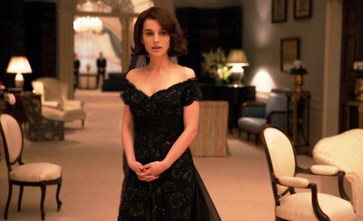 "Natalie Portman in Dior black dress for the film ""Jackie"""