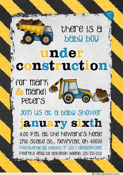 Blue Boy Under Construction Shower Invitation