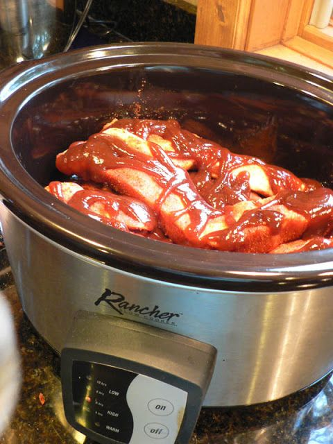 "Crock Pot/Slow Cooker Country Style Ribs - The cook says ""I found these country style ribs in the freezer and after thawing them, David put a dry rub on them, slathered them with Sweet Baby Rays and put them in the crock pot to cook for seven hours""."