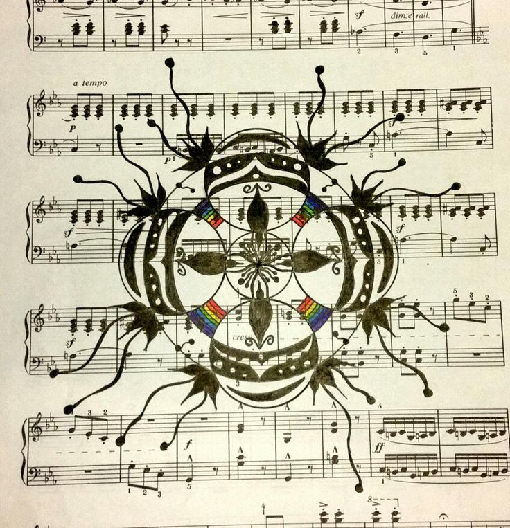 Mandala on sheet music created by Sharon Morgan of Manifesting Mandalas.  #100_mandalas #100mandalas #mandala #shazjmorgan #sharonmorgan #sheetmusic