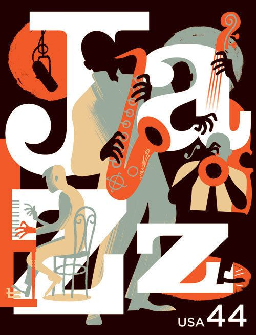 New Orleans Postage Jazz Stamp by Paul Rogers