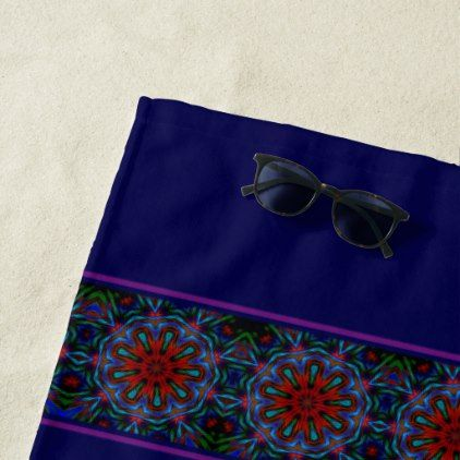Modern Psychedelic Patterned Beach Towel - blue gifts style giftidea diy cyo