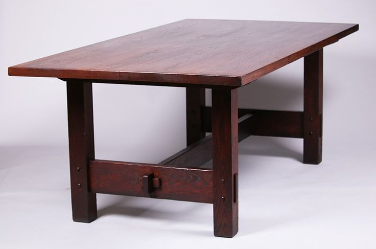 Rare Gustav Stickley Rectangular Dining Table.  Provenance: Robert & Elaine Dillof Collection, Croton Falls, NY.  Refinished.  Signed.  84″ x 42″w x 30″h $18,000