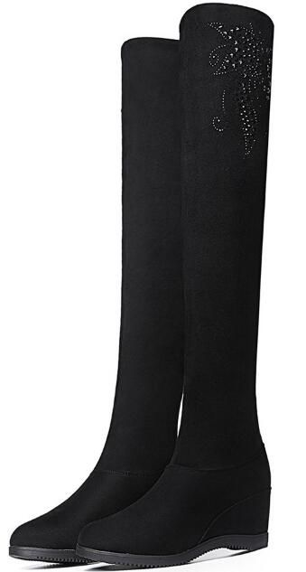 >> Click to Buy << Women Winter Flock Short Plush Thick Warm Thigh High Boots Crystal Fashion Casual Height Increasing Lady Snow Boots 1114 #Affiliate