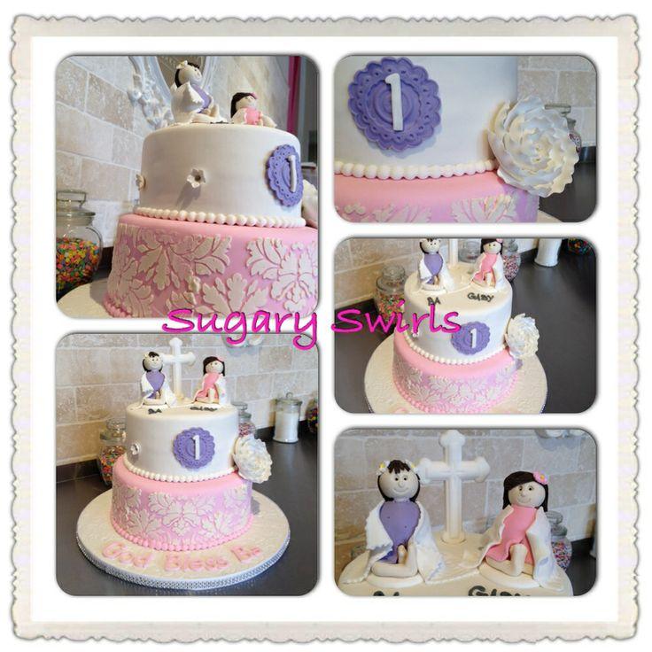 #baptism #firstbirthday #celebration #sugaryswirlsco - cake toppers handmade by Sugary Swirls
