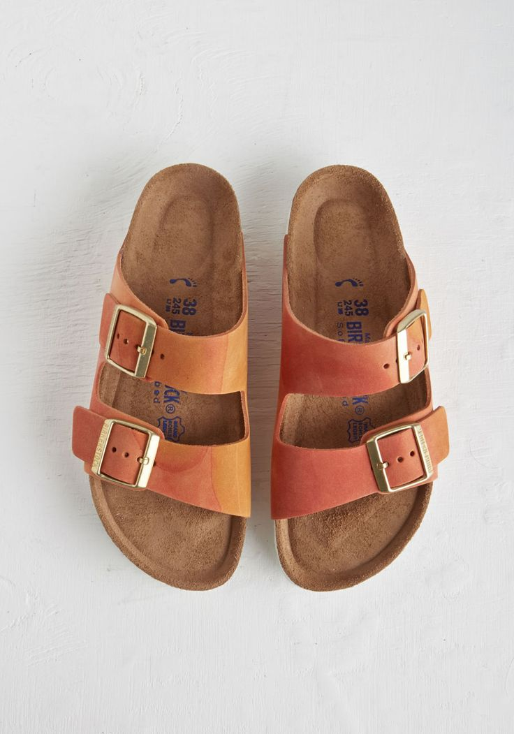 Strappy Camper Sandal in Sunset. Set up your tent, kick off those hiking boots, and step into these Birkenstock Arizona sandals - available in March! #orange #modcloth