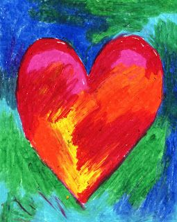 Jim Dine Style Hearts, pastels, great for warm/cool color lesson