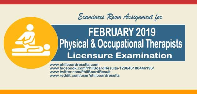 CEBU Room Assignment: February 2019 Physical Therapists (PT