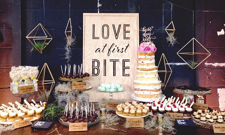 Cool sign, air plants and suspended decor and look at those  sweets! ~ we ❤ this! moncheribridals.com