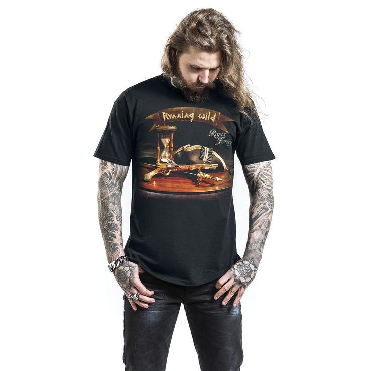 "Classica T-Shirt uomo nera ""Pirates Unite"" dei #RunningWild."