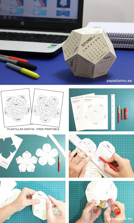 Calendario escolar 3D 2016-2017 de papel listo para descargar, imprimir, recortar y pegar. Plantillas imprimibles (dos archivos diferentes en .pdf)