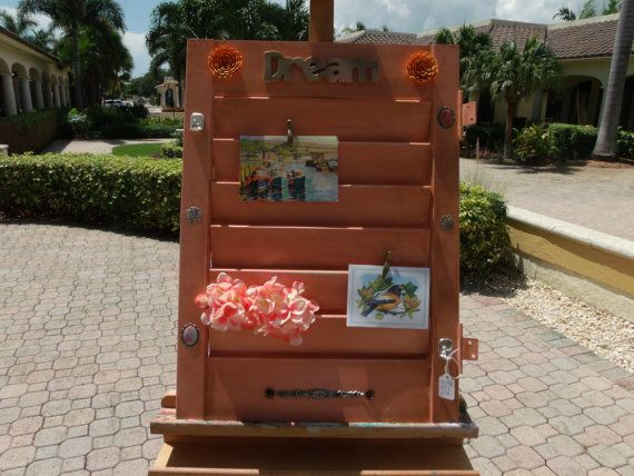 Vintage Light Orange Painted Wood Shutter/Message by ADelrayDesign, $65.00