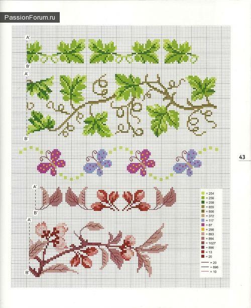 Patroon voor een tafelkleed en servetten. DEEL 3 / Embroidery / Cross Stitch Schemes