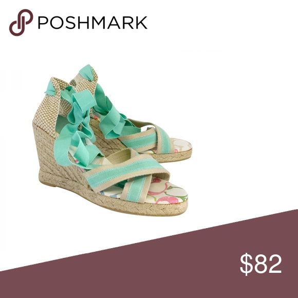 "Coach- Mint Green & Beige Espadrille Wedge Sandals Sz 8 Size 8 Mint Green & Beige Espadrille Wedge Sandals Slips on w/ankle ties Some insole wear Platform height 0.5"" Heel heights 4"" Coach Shoes Sandals"
