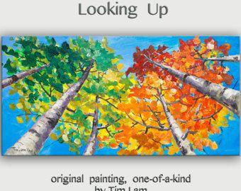Looking Up pittura dell'albero cambio stagione Aspen grande | Etsy