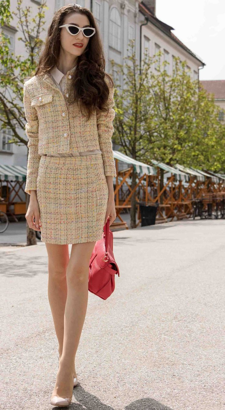 "Fashion Blogger Veronika Lipar of Brunette from Wall Street sharing how to style yellow tweed mini skirt suit #fashion #blogpost #tweed #tweedsuit #ITpieces #ITshoes #fashiontrend #tweedjacket #outfits #tweedblazer #miniskirt #plexipumps #fashionable #suits #chic #ss2018 #fashiontrends #stylish #spring #streetstyle #streetwear #transitional #midseasonal #elegant #suit #trenddriven #chanel #gianvitorossi #miniskirts #lespecs"" width="