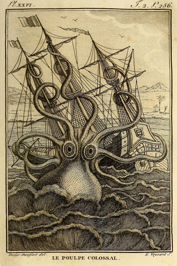 Kraken Octopus Print, Giant Octopus Attacking Ship, Men's Wall Art, Nautical…