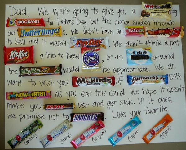 Candy bar Father's Day card.  Great idea!