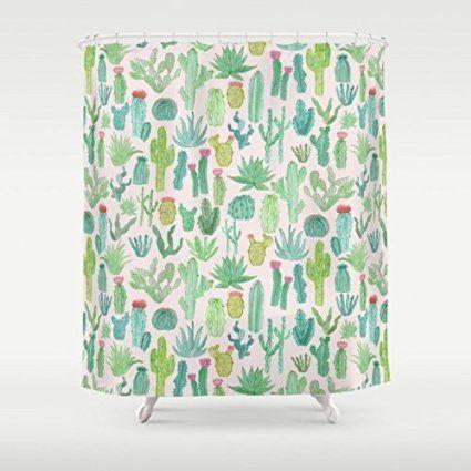 Gerenic Cactus Shower Curtain 66 72inch Bathroom