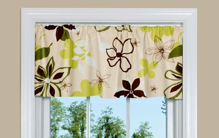 Discount Curtains for Sale: Valance has Floral Design in Green and Brown