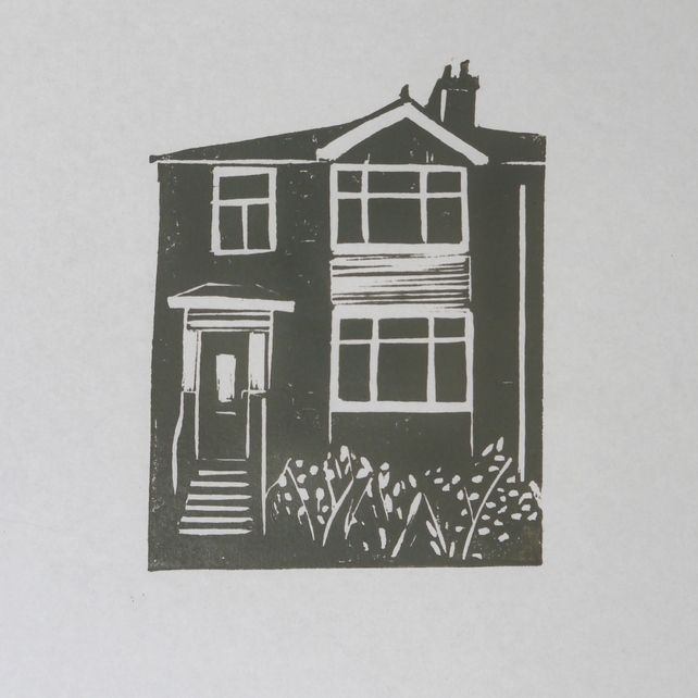 Emma Higgins Lino Prints...YOUR HOUSE CUSTOM ORDER LINO PRINT £40.00